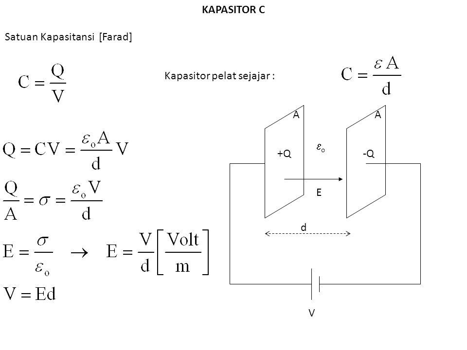 KAPASITOR C Satuan Kapasitansi [Farad] Kapasitor pelat sejajar : A A o +Q -Q E d V